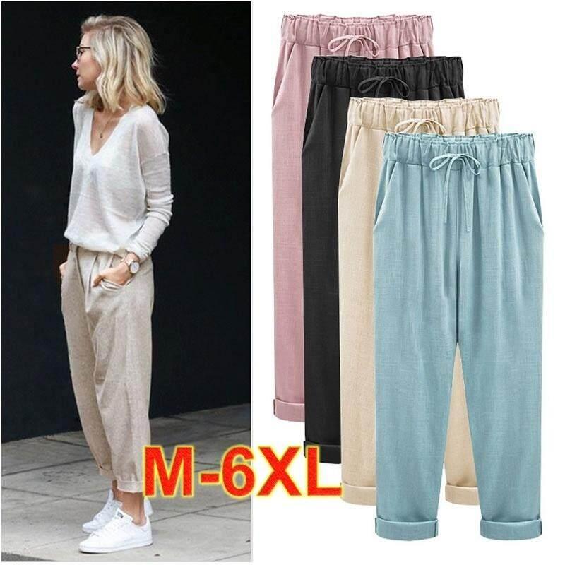 Summer Women s Cotton Cropped Pants Pants Pants Haha Harem Pants Plus Size M-6XL  - 6619c96244bd