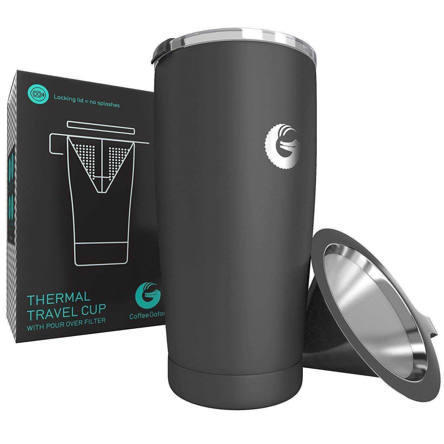 Coffee Gator Personal Coffee Brewing Travel Mug - Vacuum Insulated Stainless Steel Pour Over Maker With Locking Lid - 500ml