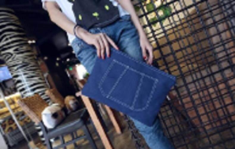 [PRE-ORDER] Women Denim Canvas Zipped Handbag