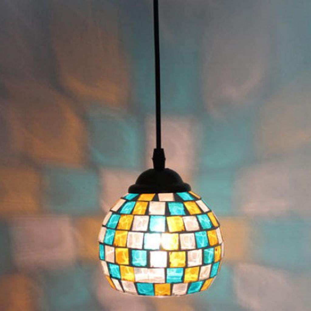 BolehDeals Vintage Hanging Light Mosaic Design Pendant Ceiling Lampshade Stained Glass 6#