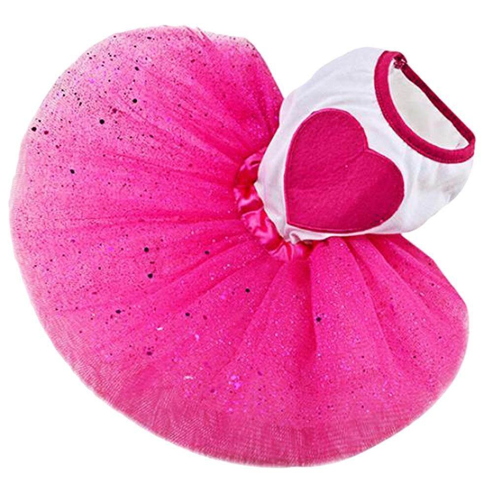 Anjing Peliharaan Cinta Jantung Payet Kasa Tutu Gaun Rok Anak Anjing Kucing Mawar Merah Pakaian M-Internasional By Miss Lan.