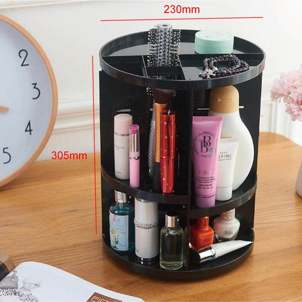 BIGSPOON 360 Rotating Adjustable Cosmetic Rack Organizer Jewelry Make Up Case Container Lipstick Display Holder Stand Makeup Brushes Sets Eyeshadow Moisturizers Nail Polish Storage Box (Black)