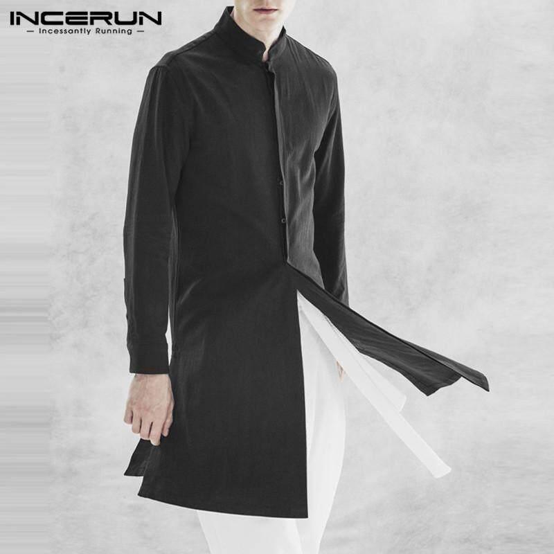 613872edacdf INCERUN Nepal Men Long Cotton Kaftan Shirts Long Sleeve Tops Button Robe  Suit Tops