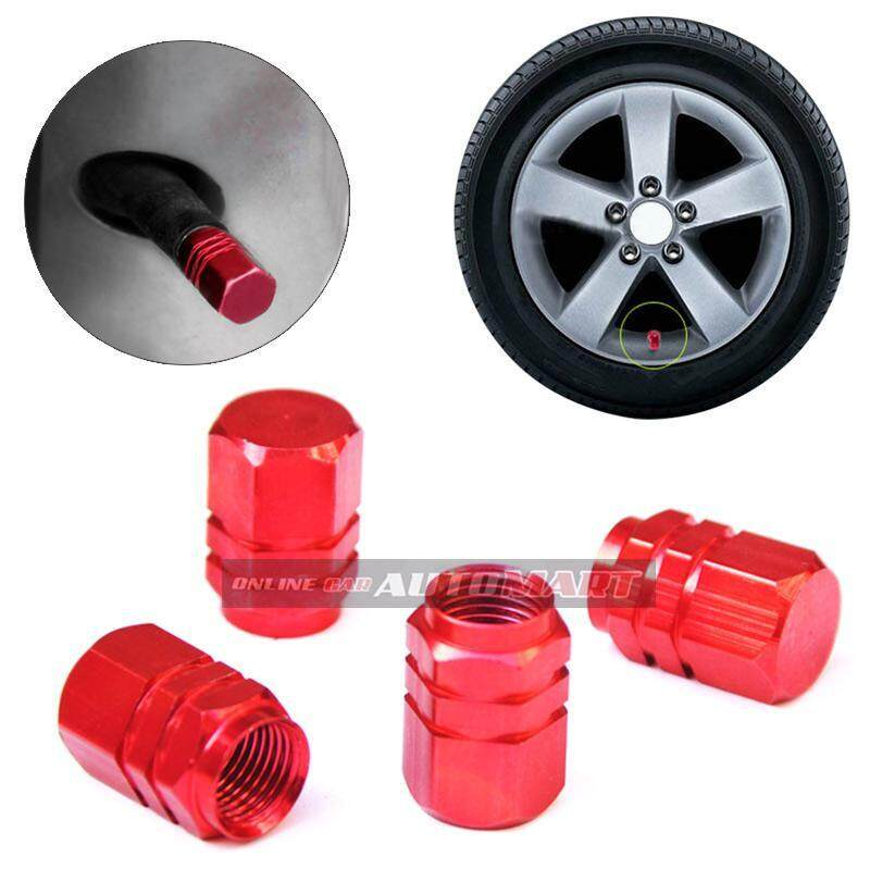 4pcs Aluminium Alloy Tyre Valve Tyre Cap Valve Stem Air Caps Airtight Cove RED