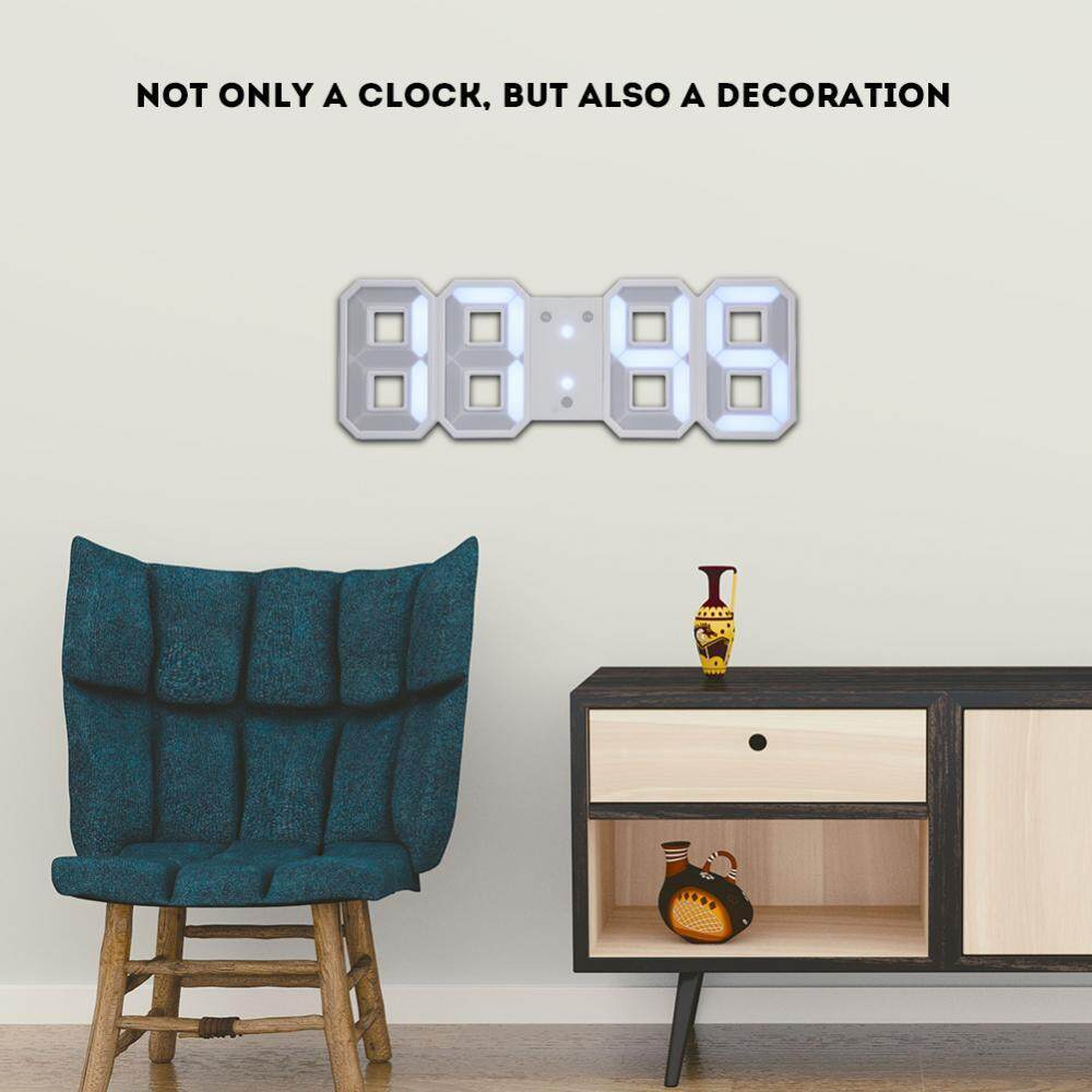 3D LED Digital Wall Alarm Clock with 3 Brightness Level Snooze Function 12/24H Display - intl
