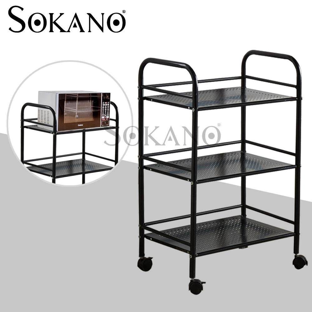 (RAYA 2019) SOKANO KR004 3 Tiers Multipurpose Stainless Steel Oven and Kitchen Dapur Rack with Wheels- Black