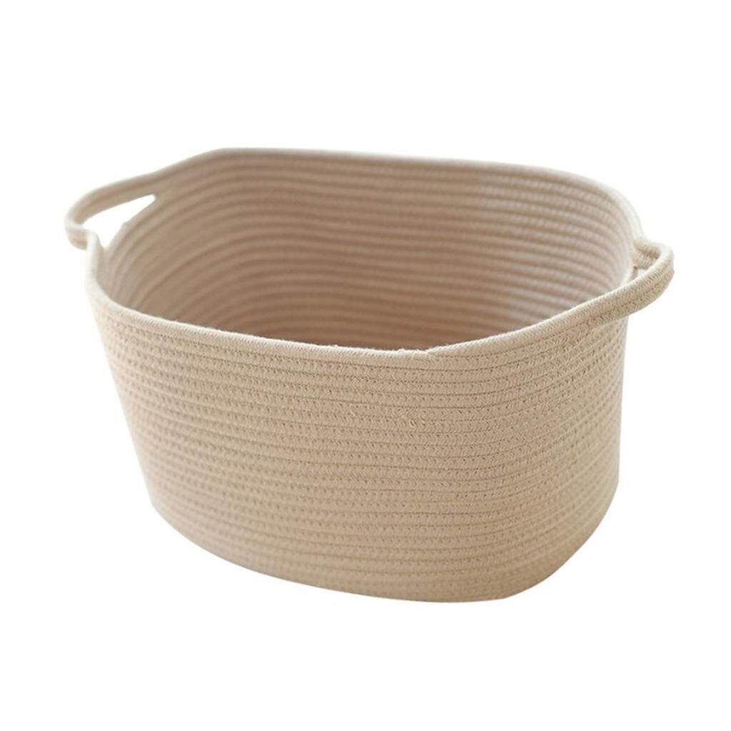 BolehDeals Nordic Style Handmade Cotton Woven Storage Basket Cotton Rope Storage Sundries Laundry Toys Organizer With Handles