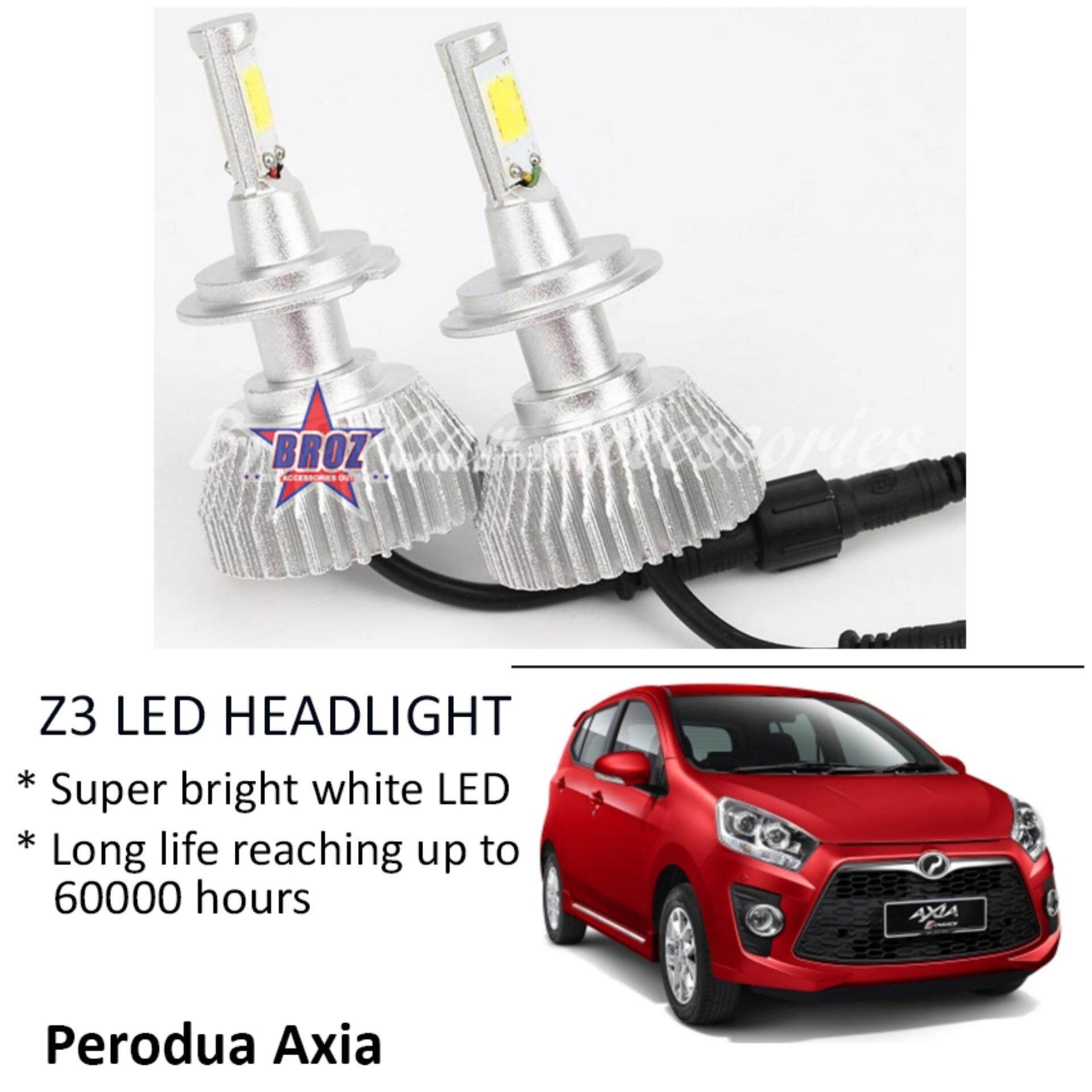 Perodua Axia (Head Lamp) Z3 LED Light Car Headlight Auto Head light Lamp 6000k White Light
