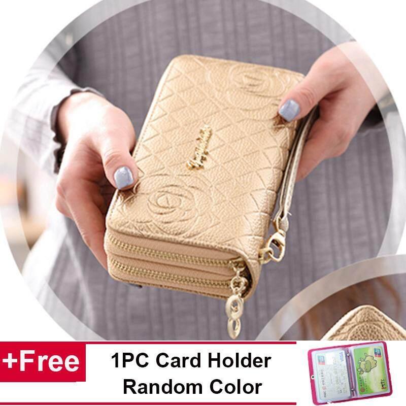 2164429978 Fashion Women Wallets Purse Long Mobile Handbag Leather Double Zip Floral  Rose Clutch Wallet