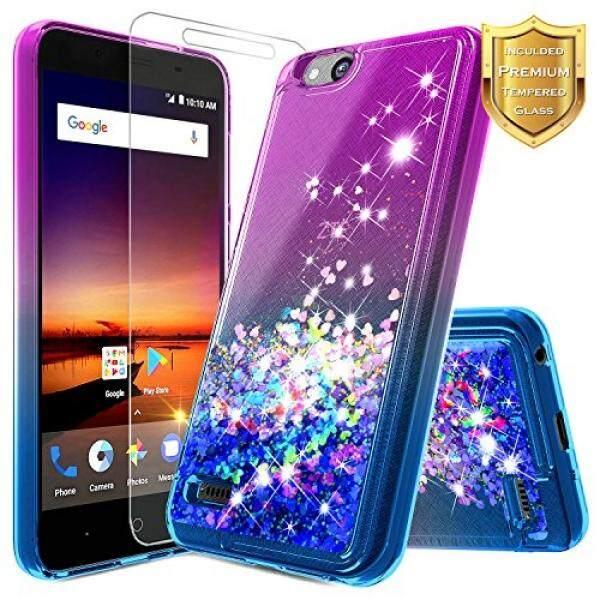 Smartphone Case S Case S Nagebee Nagebee Pasir Hisap Gemerlap Cair Mengambang Bling Berkilau Case W/[Kaca Antigores Pelindung Layar] untuk ZTE zfive G/Zfive C (Z557BL, z558VL), ZTE Tempo Pergi Case (N9137), ZTE Avid 4G (557) -Ungu/Biru-Intl
