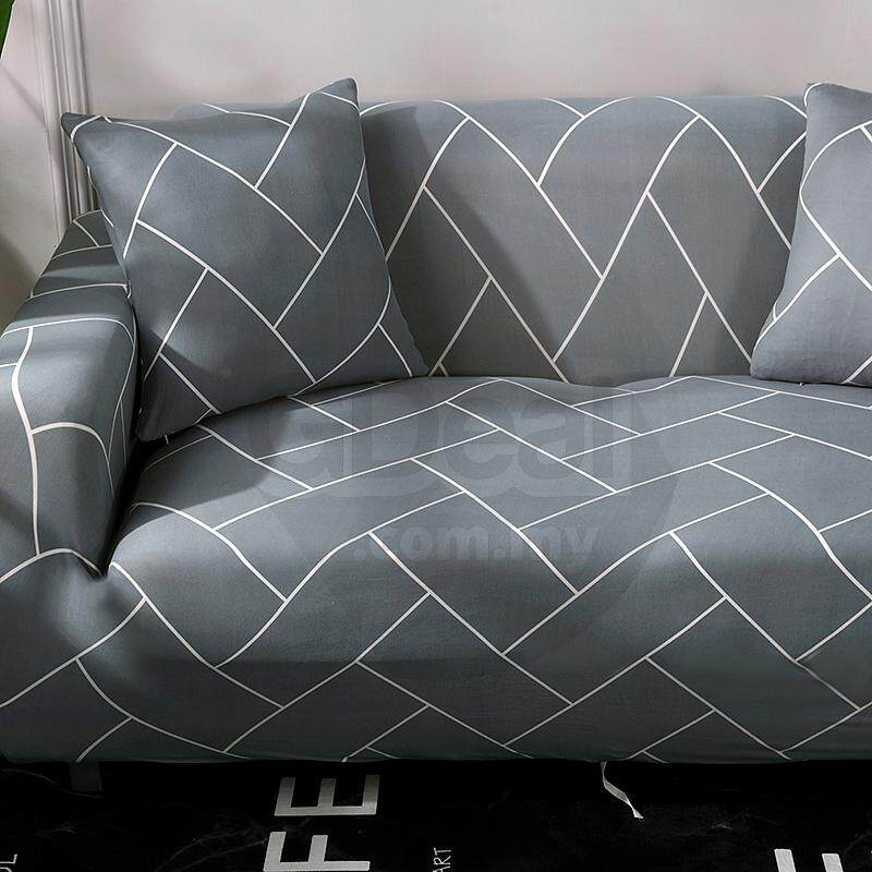 Detail Gambar GTE Sofa Cover For Single Seat Sofa Couch Slipcover Stretch  Covers Elastic Fabric + FREE One Pillow Case (Single: 90 140cm)   4 Design  ...