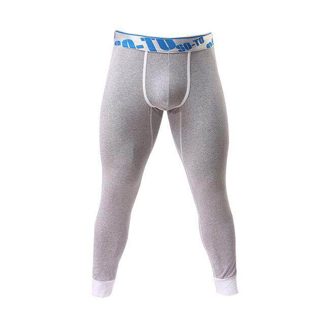 d4eddfc08ff26d soutong Winter Warm Men's Long Underpants Cotton Printed Thermal Underwear  Grey 5# XL - intl