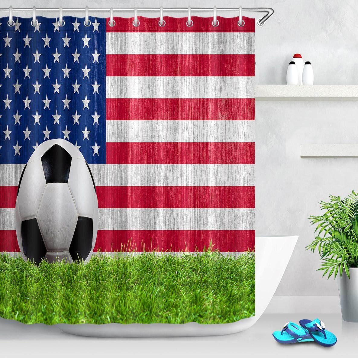 Bendera Amerika Sepak Bola 180X180 Cm Gorden Mandi Tahan Air Liner Anti Bakteri Tirai Mandi Tahan