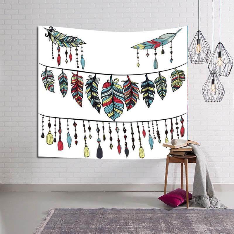 Leaves Mandala Hippie Wall Hanging Tapestry Mandala Tapestries Indian Cotton Bedspread Picnic Bedsheet Blanket Wall Art Beach Towel 153x130cm - intl