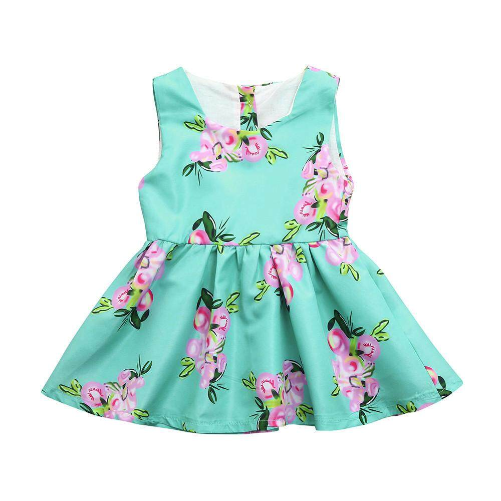 a077cdf18ce Baby Girls Infant Kids Floral Print Sundress Clothes Princess Casual Dress