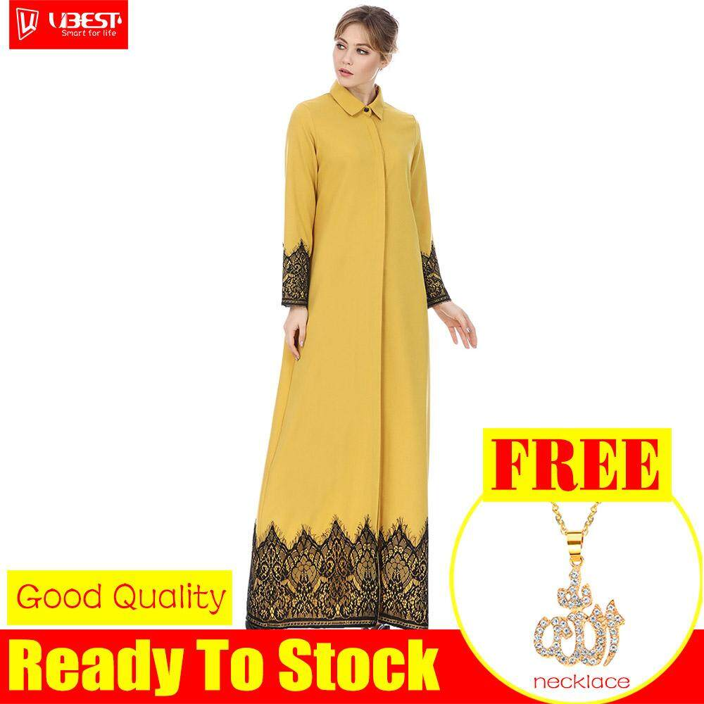 Features Baju Raya 2018 Hot Muslim Ramadan New Cardigan Robe Long Womens Fashion Buckle National Style Lace Solid Color Dress