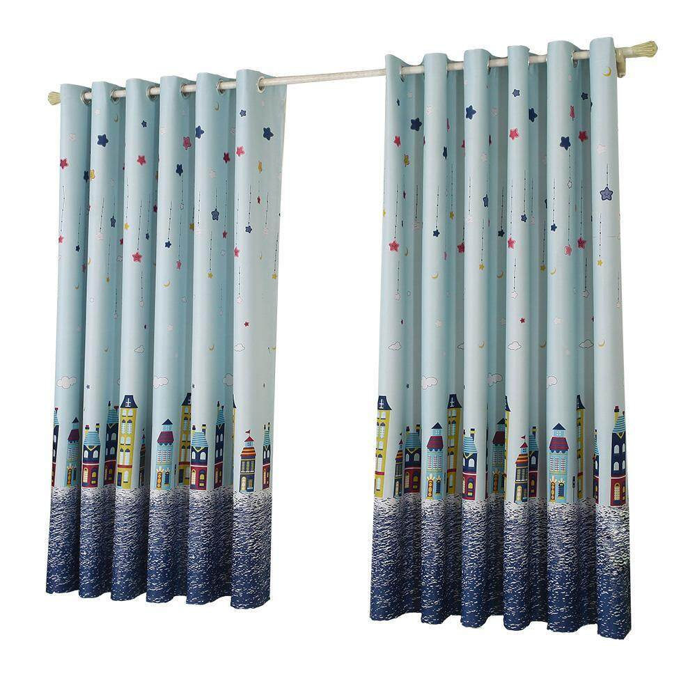 Star ​Castle Print ​Blackout Curtain Purdah Punching Curtain Shading Screen - intl