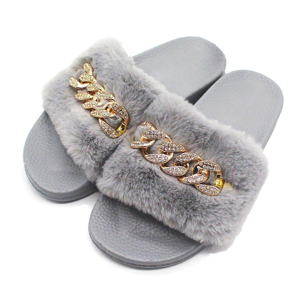 ce8184a3426554 Womens Diamante Chain Slider Slip On Rubber Mule Ladies Sandals Slippers  Shoes