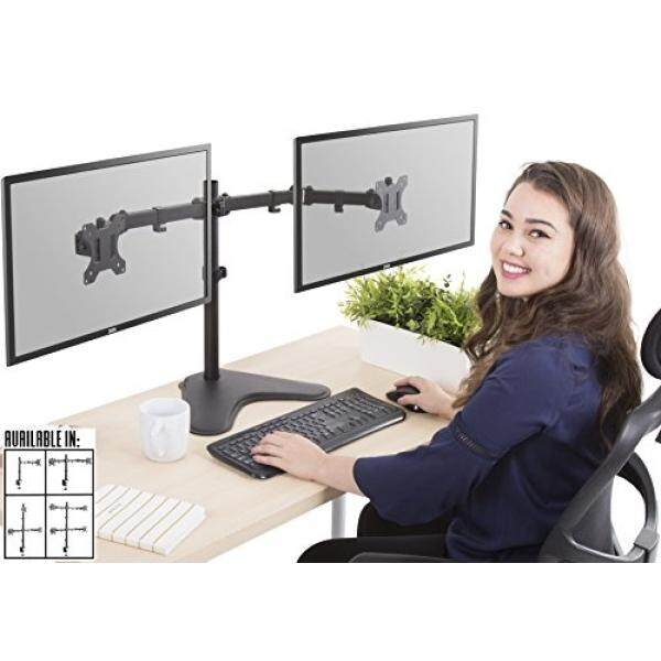 Stand Steady Monitor Arm Height Adjustable with Full Articulation VESA Mount Fits Most LCD / LED Monitors (2 Monitors Freestanding) - intl