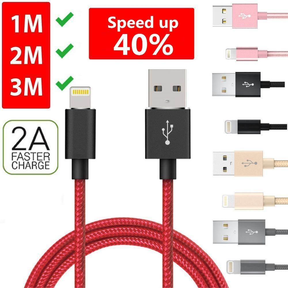 Features Heavy Duty Metal Braided Lightning Usb Charger Cable 1m 2m Kabel Data Iphone 2meter Original 3m For X 8 7