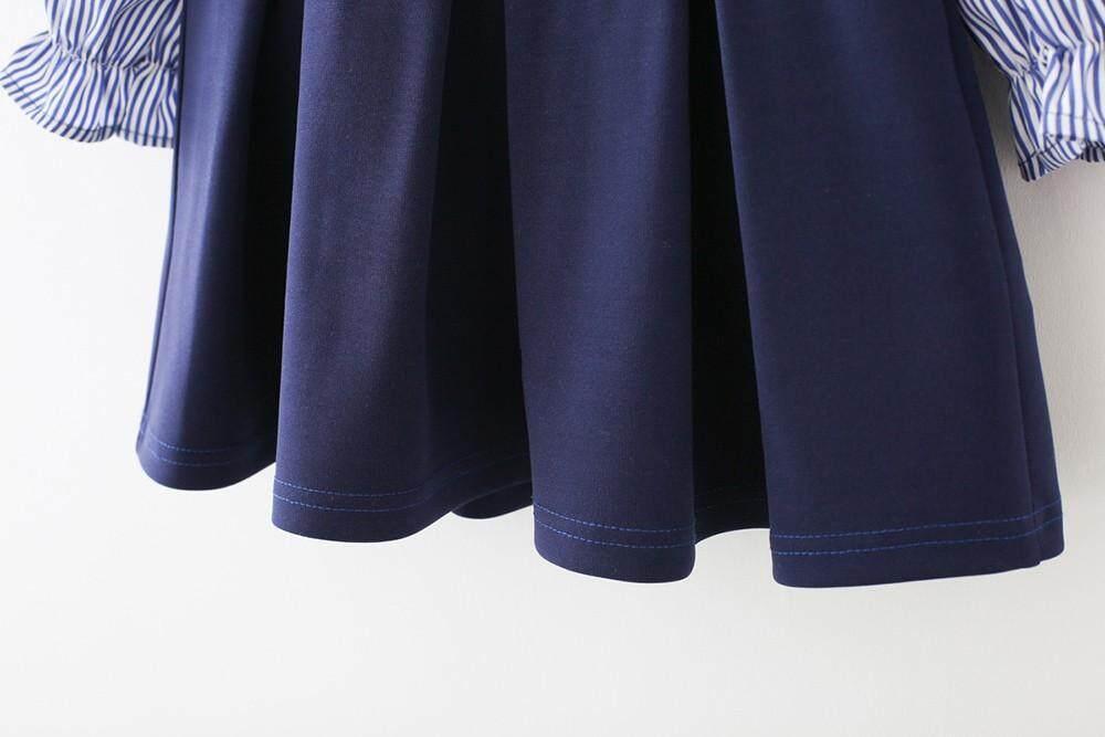Detail Gambar Katata Anak Kecil Anak Perempuan Bergaris Cetak Gaun Ikatan Simpul Formal Casaul Pakaian Pakaian Terbaru