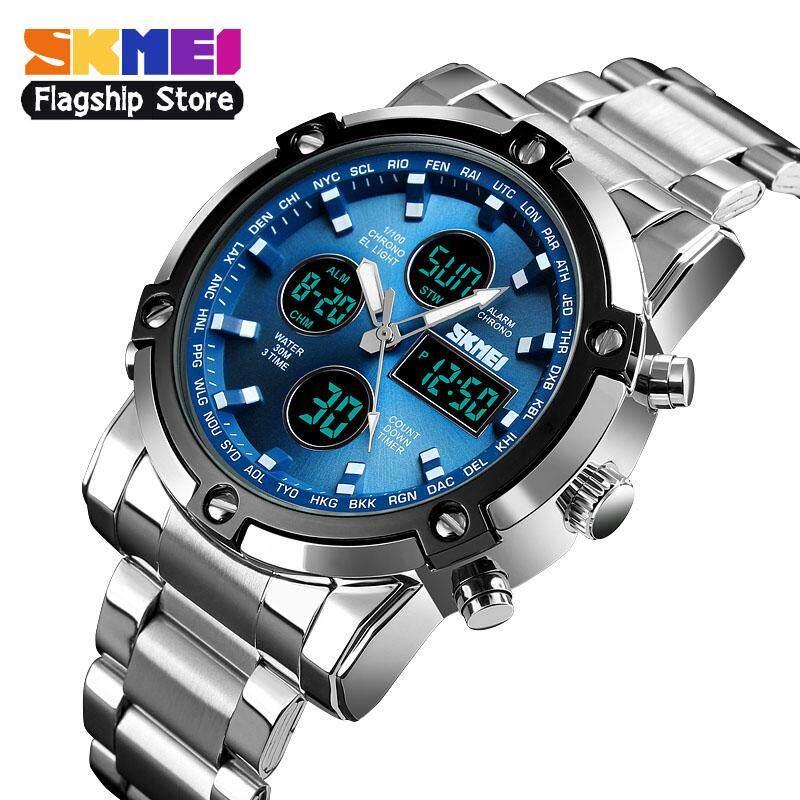 Skmei ใหม่ผู้ชายกีฬานาฬิกาแฟชั่นนาฬิกาควอท์ซจับเวลานาฬิกาจอแสดงผลคู่ 3 นับถอยหลังนาฬิกาข้อมือกันน้ำ 1389 By Skmei Flagship Store.