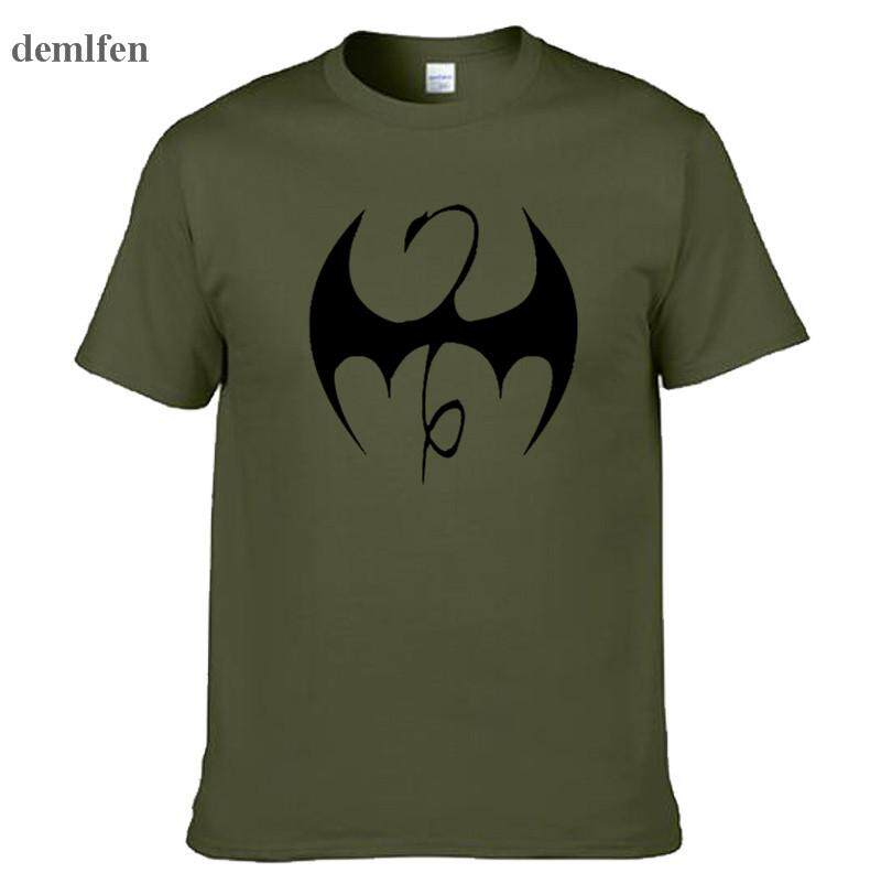 bfa6a6d94d8 Mens Printing Iron Fist Dragon Logo T-Shirt Summer 101% Cotton Casual Men  tee