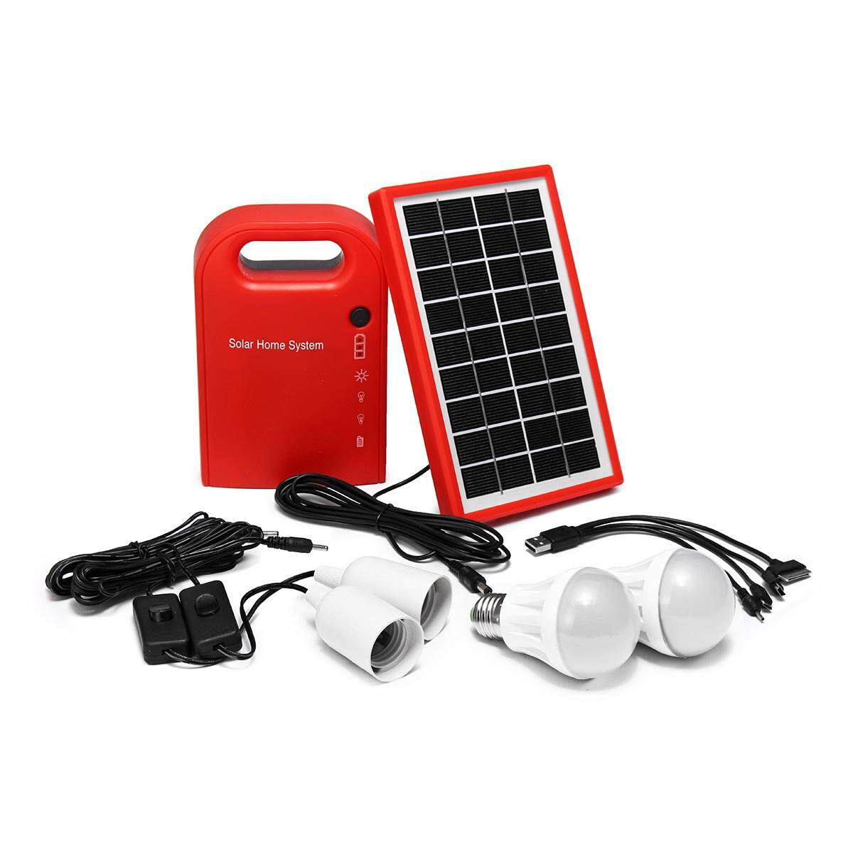 Portable Solar Power Lampu Panel LED Charger USB Home System Kit Taman Outdoor