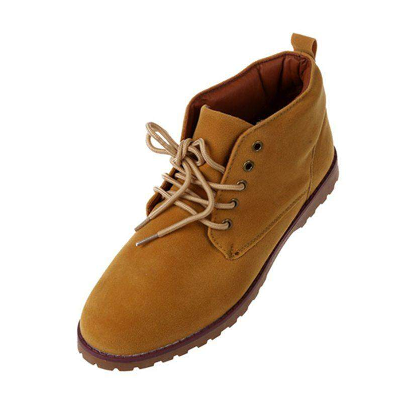 f73efe9142b New fashion British Mens Casual Lace Suede Ankle Boots Loafers Shoes  Sneakers-yellow 43