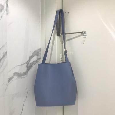 Women Simple Diagonal Bag Solid Color Large Capacity Magnetic Buckle Bucket Bag