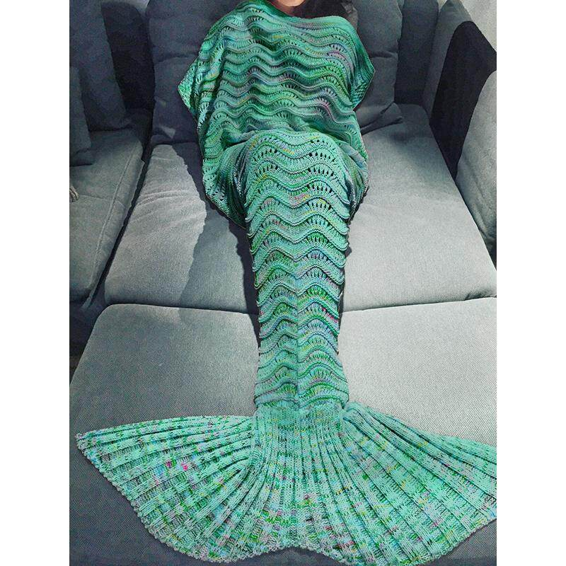 ... Hollow Ripple Wearable Wool Knit Mermaid Blanket Air Conditioner Sofa Cover Blanket Size specification:180X90CM