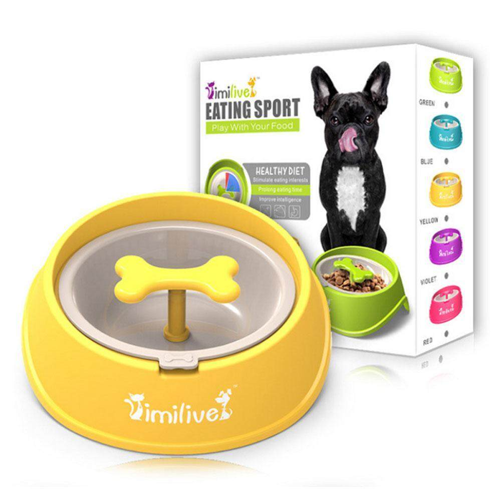 Niceeshop Dog Slow Feed Bowl Dog Chew Toy Fun Feeder Bowl Bloat Stop Puppy Bone Shaped Rotating Anti-Choke Slow Eating - Intl By Nicee Shop.