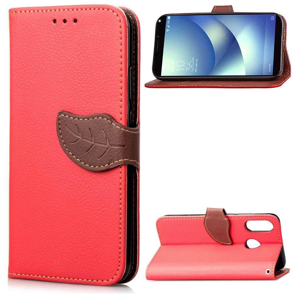 Case for Asus Zenfone Max (M1) ZB555KL Unique Leaf Magnet PU Leather Flip Wallet Stand Hand Strap C