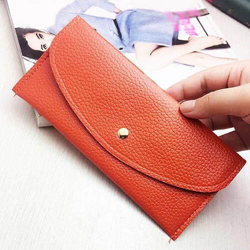Broadfashion Cincin Mode untuk Wanita Kulit Tiruan Domper Tipis Dompet Genggam Panjang Tas Tangan Penyimpan Kartu