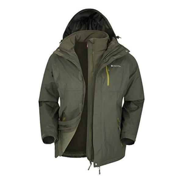 Mountain Warehouse Bracken Extreme 3in1 Mens Jacket –Durable Raincoat Khaki Large - intl