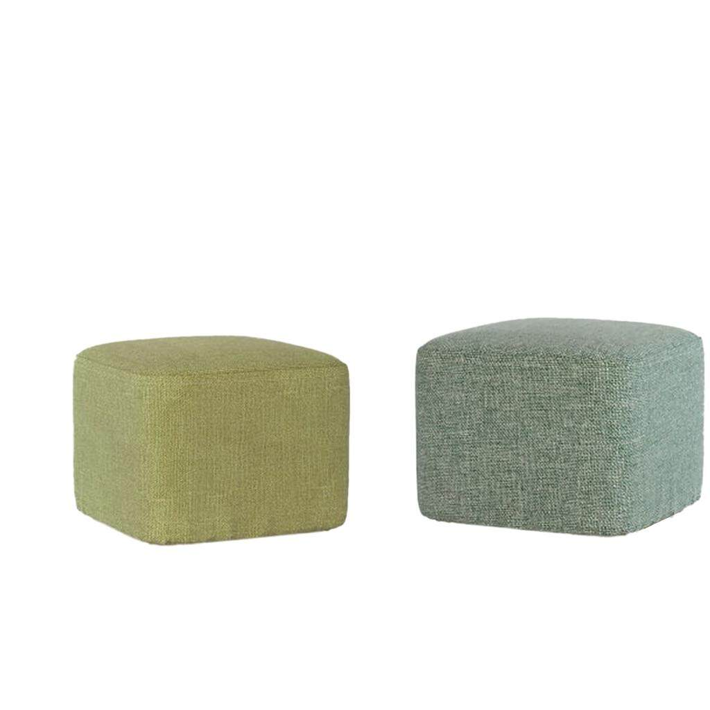 BolehDeals Square Wooden Stool Cover Sleeve for Footstools Blackish green+ Grass Green