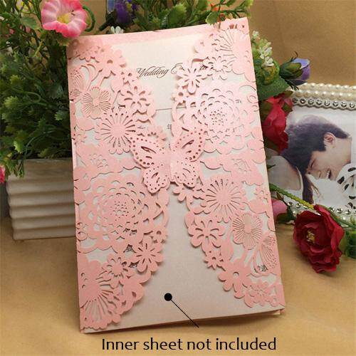 40 Pcs Shinny Pearlescent Paper Wedding Invitation Cards Flower Carved Pattern Hollow Out For