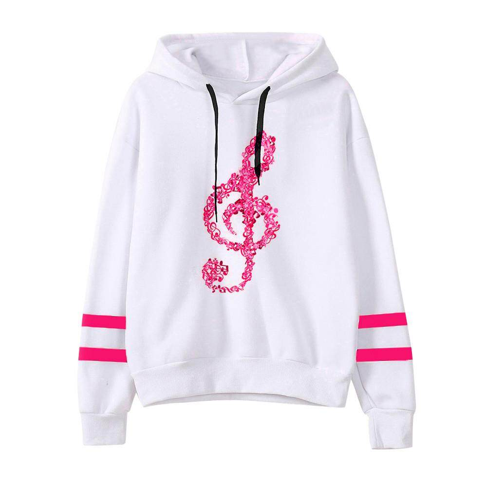 47206eec6a84 (Audestore)_Womens Musical Notes Long Sleeve Hoodie Sweatshirt Hooded  Pullover Tops Blouse. (Audestore)_Womens ...