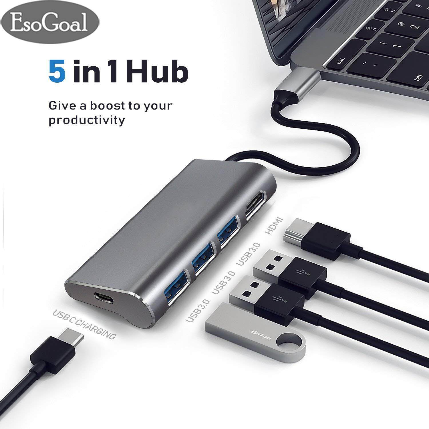 EsoGoal Hub tipe-C USB C Hub Type C Video Adapters USB Type C Hub for Macbook Pro USB Type C To HDMI Adapter Dock with 4K HDMI Port, 3 USB 3.0 Ports USB C