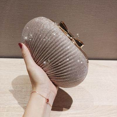 [READY STOCK] Women Shiny Pleated Metal Bow Goose Egg Clutch Evening Dinner Bag