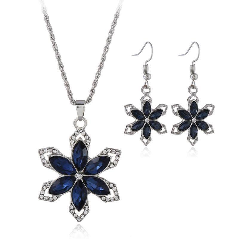 Linfang Fine Diamond Bunga Kristal Kalung Liontin Anting-Anting Wanita Fashoin Set Perhiasan-Intl