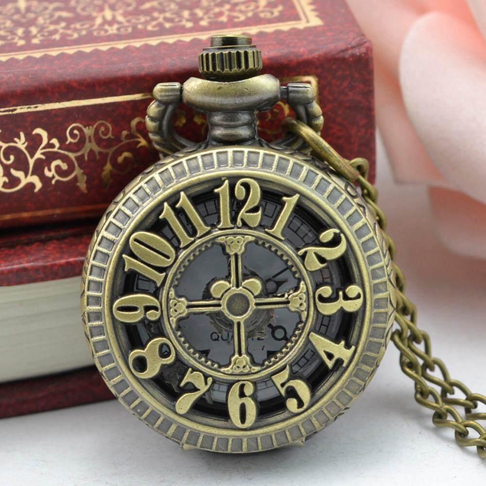 coconie Vintage Steampunk Retro Bronze Design Pocket Watch Quartz Pendant Necklace Gift