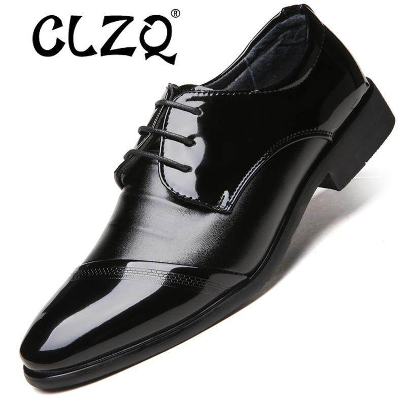 25fa4becb5 CLZQ men dress shoes formal business work soft patent leather pointed toe  for man male mens