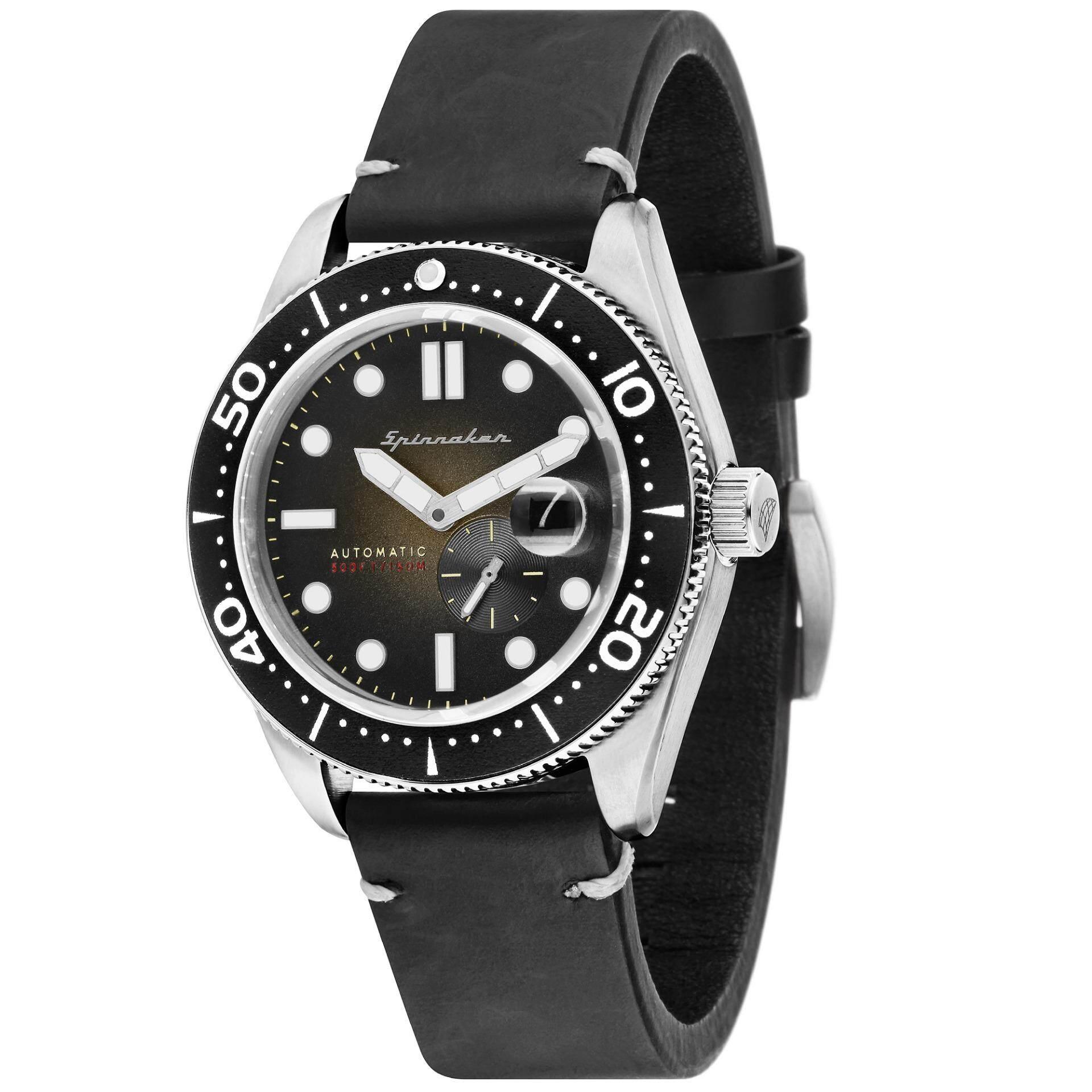 df4625871c4 Spinnaker CROFT SP-5058-03 Men s Black Genuine Leather Strap Watch