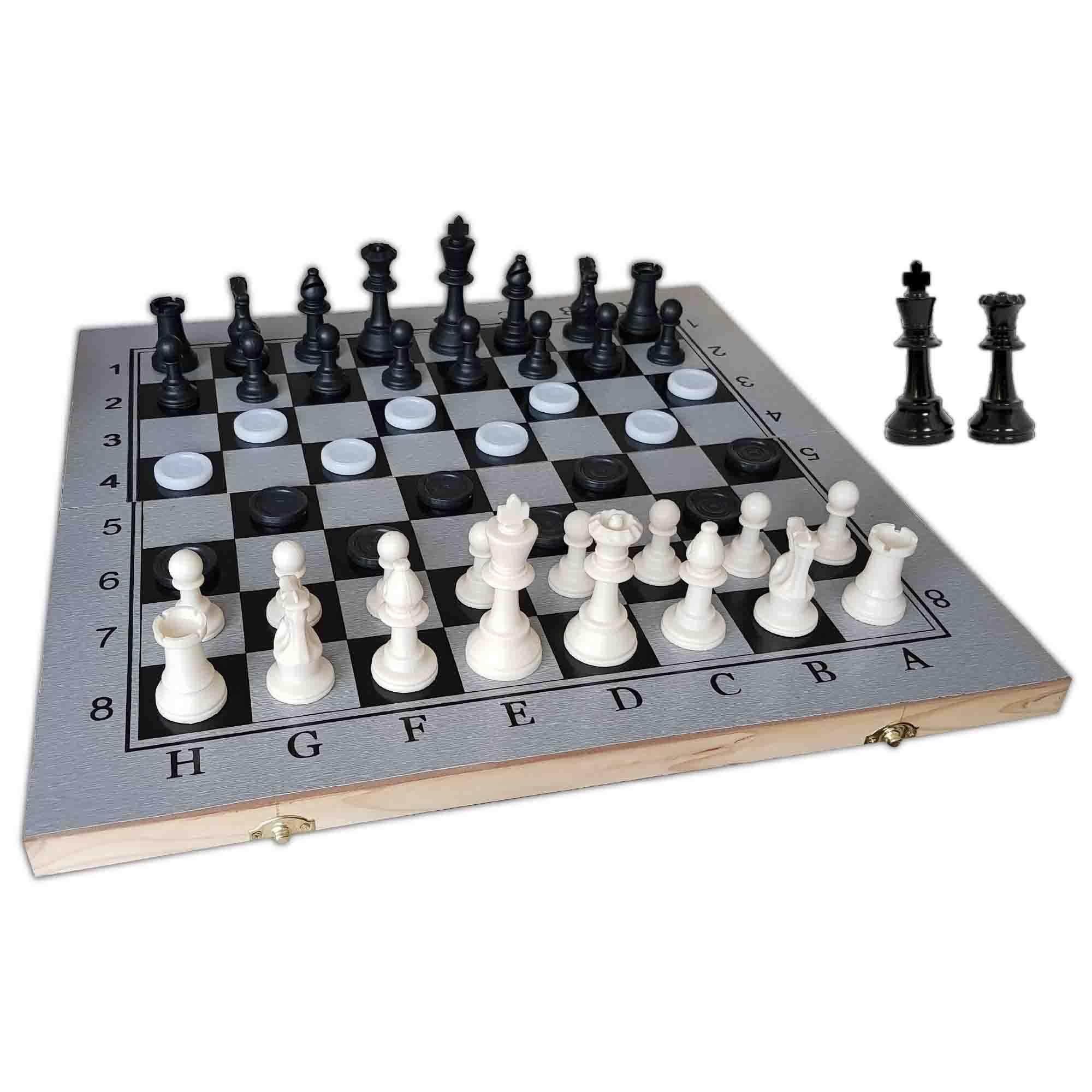 Portable Tournament Chess Set 3 in 1 (Chess & Checkers & Backgammon) 48 CM X 48 CM