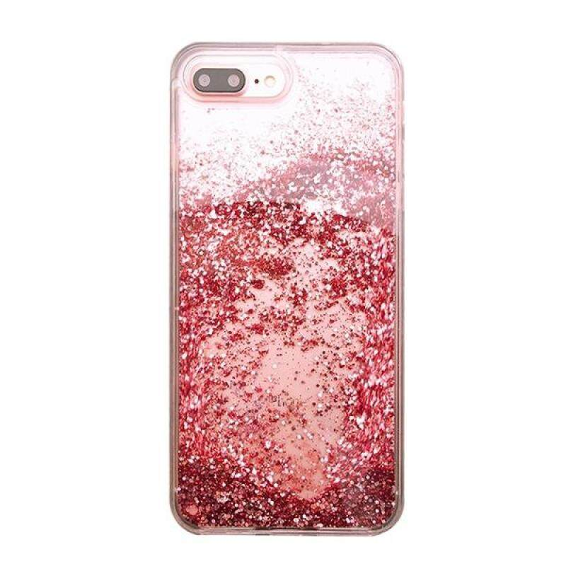 Giá Glitter Liquid Women Phone Case Transparent Soft Starry TPU Bling Sparkle Luxury Protective Shell Case Cover for iPhone 7/8 Plus (Rose Red)