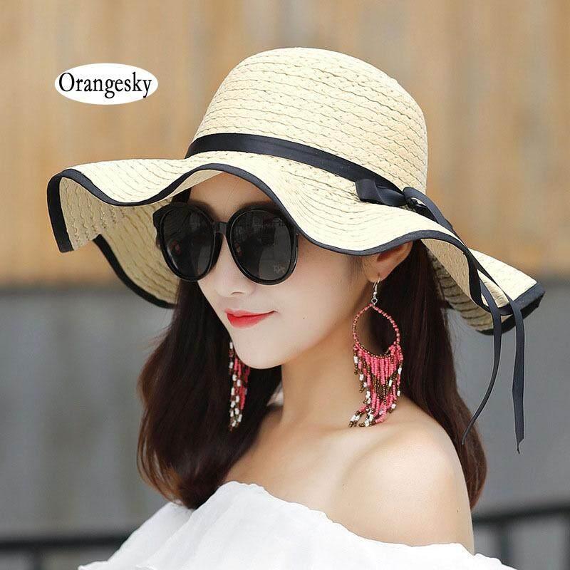 Orangesky Wanita Sedotan Musim Panas Topi Big Wide Topi Pantai Yang Lebar  Topi Matahari Lipat Tabir 8715ec3616