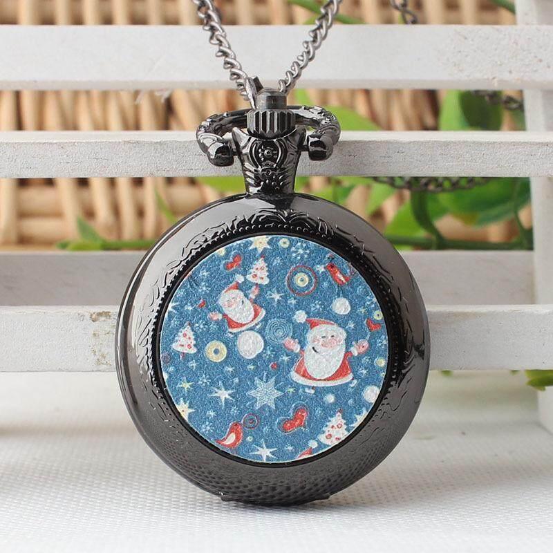 Men and Women Fashion Santa Claus Pattern Pocket Watch Christmas Best Gift Pendant Watch Clock Malaysia