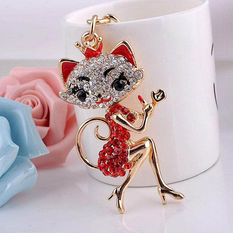Cenita Fast delivery Cute Little Fox Rhinestone Keychain Gifts For Kids Friends Families Red - intl