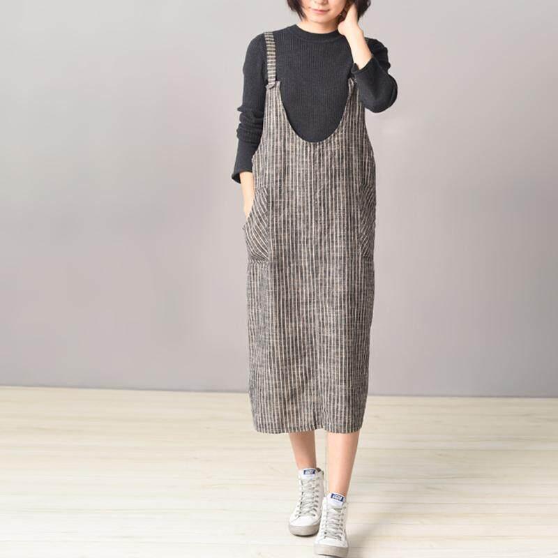ZANZEA Women Summer Sleeveless Striped Sundress A-Line Midi Plus Size Dress - intl
